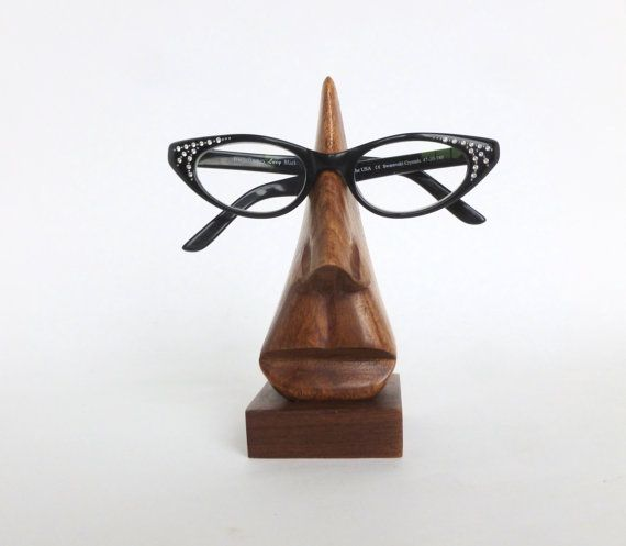 Vintage Wooden Nose Eyeglasses Holder Stand by BornAtTheWrongTime on Etsy