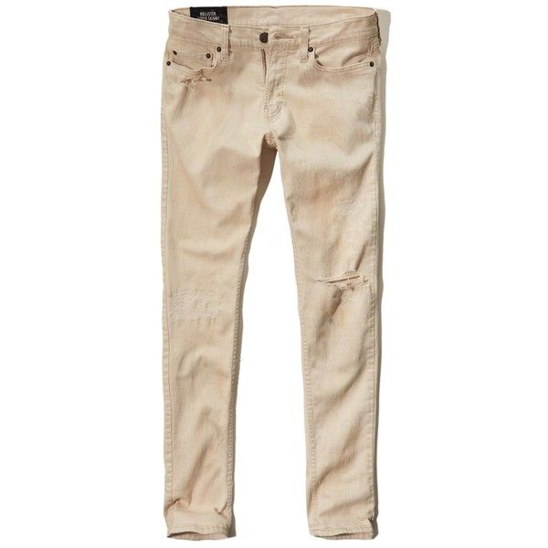 Hollister Super Skinny Jeans ($22) ❤ liked on Polyvore featuring men's fashion, men's clothing, men's jeans, light khaki with paint, mens distressed jeans, mens khaki jeans, mens khaki skinny jeans, mens distressed skinny jeans and mens skinny jeans