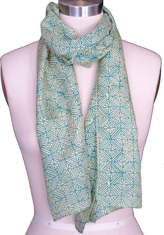 Cashmere Silk Scarf - Lacy Geometric Metallics by VIDA VIDA 01FoE4DO