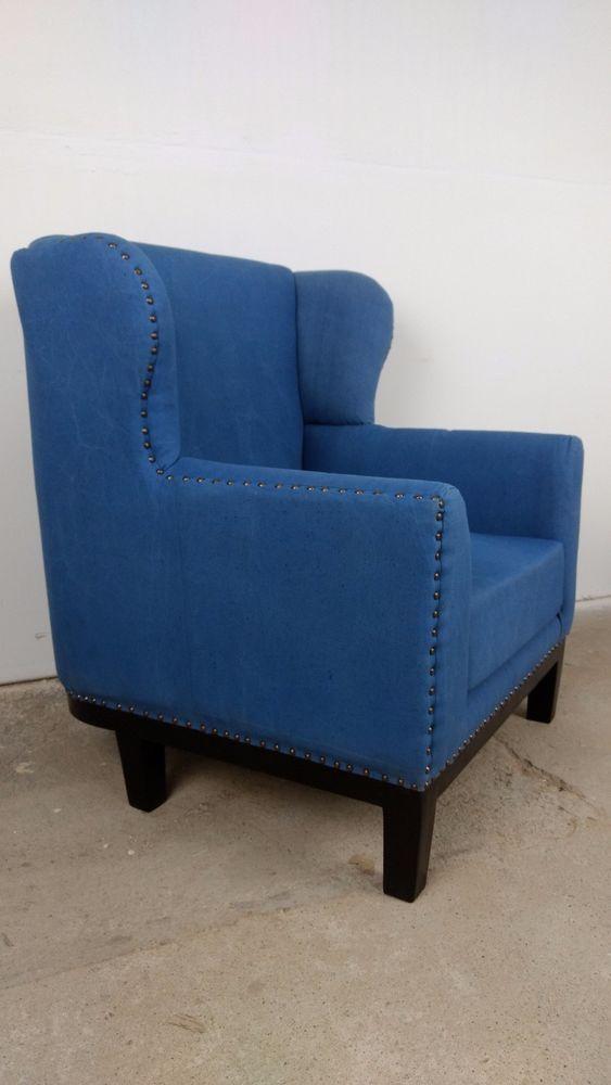 Sessel blau Chair Armsessel Relaxsessel Fernsehsessel Polstersessel Design