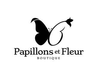 Papillons Et Fleur Logo design - Logo is combination of butterfly and flower. Price $400.00