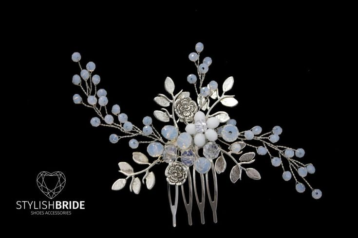 Wedding Hair Comb with metal leaves, Hair Comb, Wedding Hair Comb,  Wedding Hair Accessories, Crystal Hair Comb, Bridal Hairpiece by StylishBrideAccs on Etsy