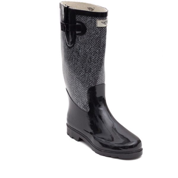Women's Jacket Design Rubber Rain Boots ($53) ❤ liked on Polyvore featuring shoes, boots, rubber rain boots, rain boots, rubber shoes, wellington boots and wellies boots