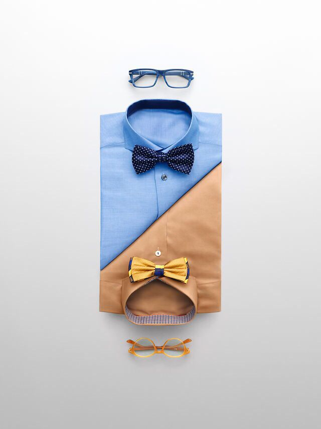 Folded shirt display with a suggestion of related accessories. This would be…