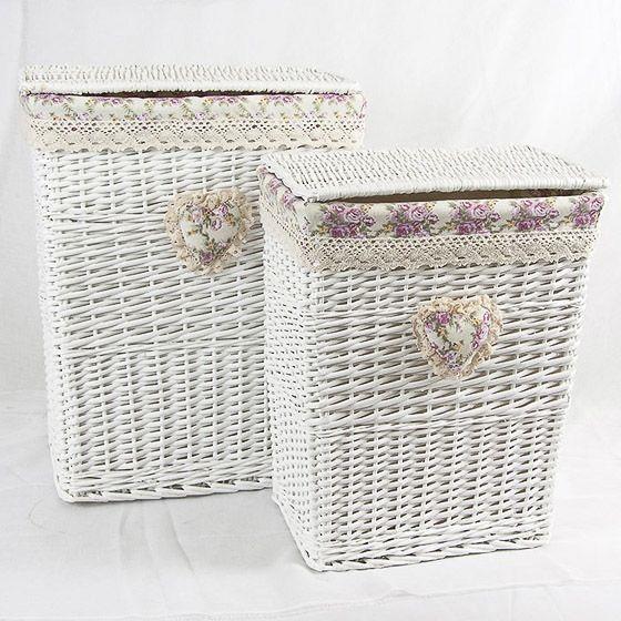 Cesto portabiancheria Cuore in vimini bianco foderato shabby chic - Set 2   eBay