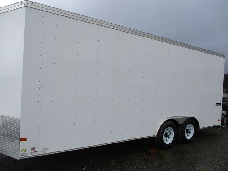 Enclosed Trailer, 8.5'x20', 10K GVWR, Tandem 5200lb Axles, Haulmark Transport Pkg, With Electric Brakes, Dovetail, 4 HD Tie Downs, Lever Lock Side Door, Roof Vent, Rear Stabalizer Jacks, LED Lights, 4-5000lb D-rings, and 6