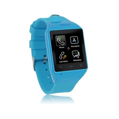 "S19 Bluetooth Smart Watch Phone 1.54"" Touch Screen GSM Support SIM TF Camera Smartwatch for Android Cell Phone Sync  - Blue"