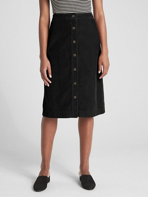 64017c726b Gap Womens Button-Front Cord Midi Skirt True Black | Products in ...