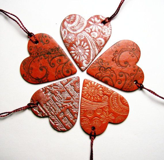 Heart Tags Five Hand Embossed Red Polymer by SweetchildJewelry, $12.50