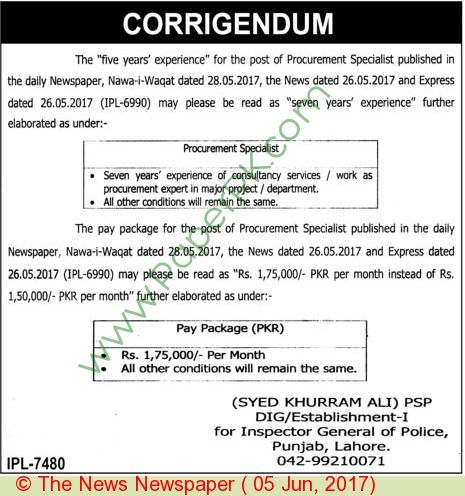 Police Department Lahore Jobs