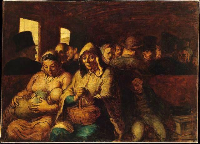 O Vagão da Terceira Classe (1863-1865) Honoré Daumier - National Gallery of Canada   Le wagon de troisième classe (A carruagem de terceira classe) mostra a compaixão e sensibilidade de Daumier por um grupo de pessoas pobres viajando de trem.   Usou temas do cotidiano para provocar a discussão sobre as questões sociais mais amplas e também explorava temas literários, como o popular Dom Quixote.   Pintor do movimento realista, exaltava a visão materialista e positivista do mundo. Acreditava…