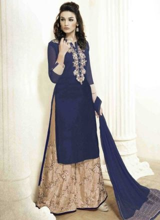 Blasting Navy Blue Beige Embroidery Work Georgette Palazzo Pakistani Suit http://www.angelnx.com/