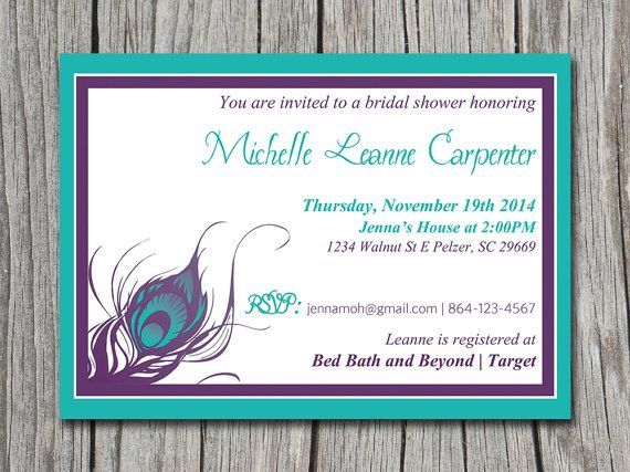 Peacock Bridal Shower Invitation, Wedding Invite Microsoft Word ...
