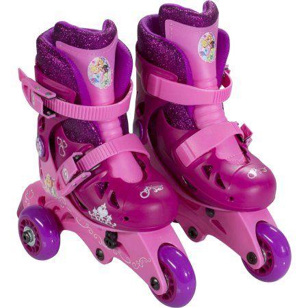 Playwheels Disney Princess Convertible 2-in-1 Kids Skate, Junior Size 6-9, Pink