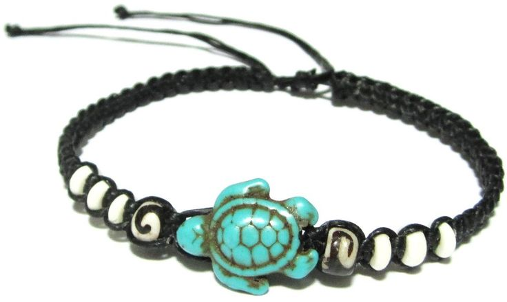 Turtle Hemp Bracelet - Black Bracelet with Turtle in Turquoise Color - Hawaiian Sea Turtle Bracelet - Black Hemp Bracelet