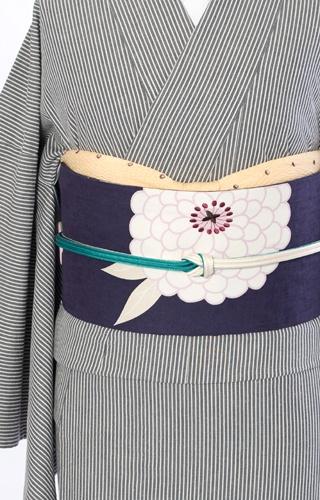 Pinstripe kimono & cool obi