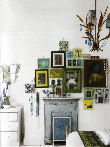 Get out all those frames and pictures tucked away and have fun making a work of art with Groupings of frames and using colors that are eye catching.: Decor, Ideas, Interior, Inspiration, Color, Frames, House, Gallery Wall, Photo