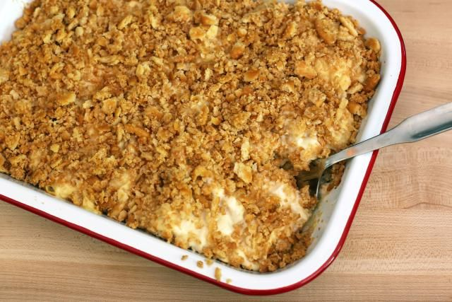 This rich and delicious chicken casserole is made with only 6 ingredients, including Ritz cracker crumbs, butter, sour cream, and diced chicken.