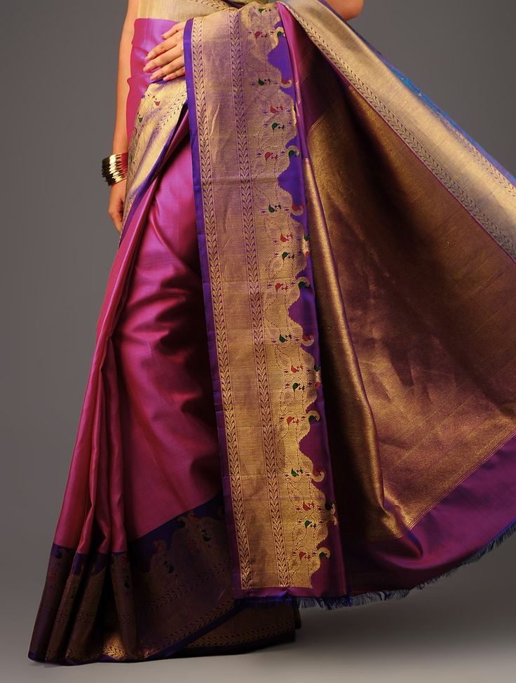 PurplePink Kanchipuram Silk Saree Buy Sarees > Woven