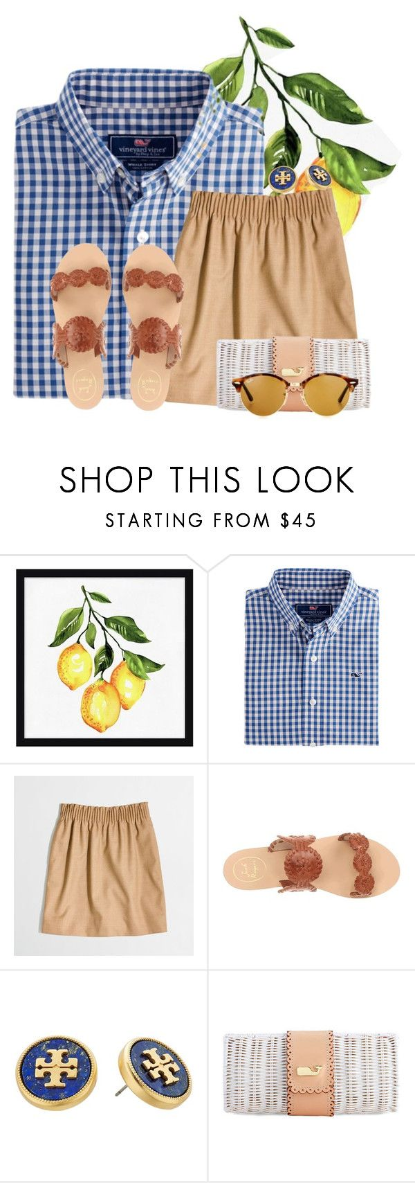 """Sweet as a peach "" by flroasburn ❤ liked on Polyvore featuring Pottery Barn, J.Crew, Jack Rogers, Tory Burch and Ray-Ban"