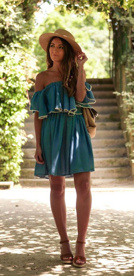 #street #style green off the shoulder dress @wachabuy