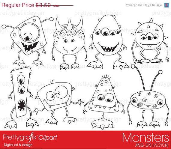 60% OFF monsters digital stamp commercial use, vector graphics, digital stamp, digital images - PGDSPK391