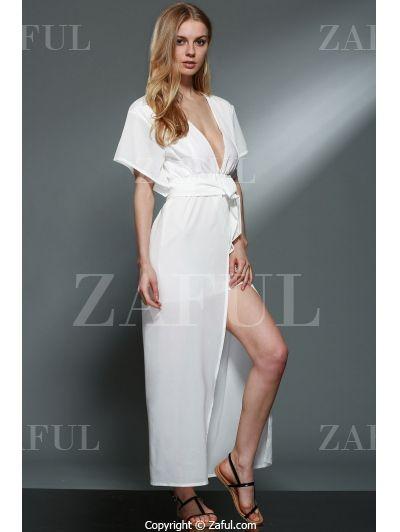 Plunging Neck Layered White Chiffon Dress WHITE: Chiffon Dresses | ZAFUL