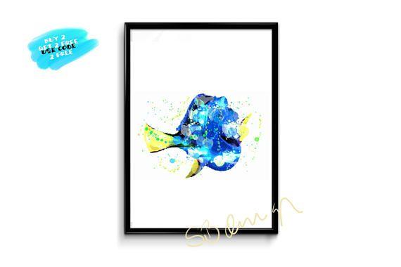 Finding Dory Watercolor Poster Disney Watercolor Printable