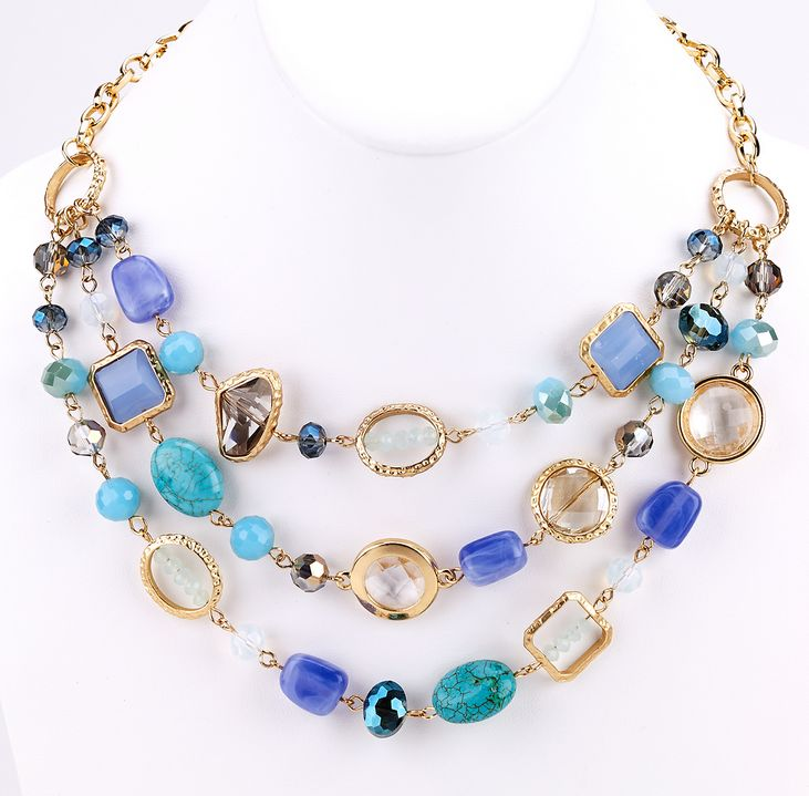 Floating Beaded and Stones Necklace - Turquoise