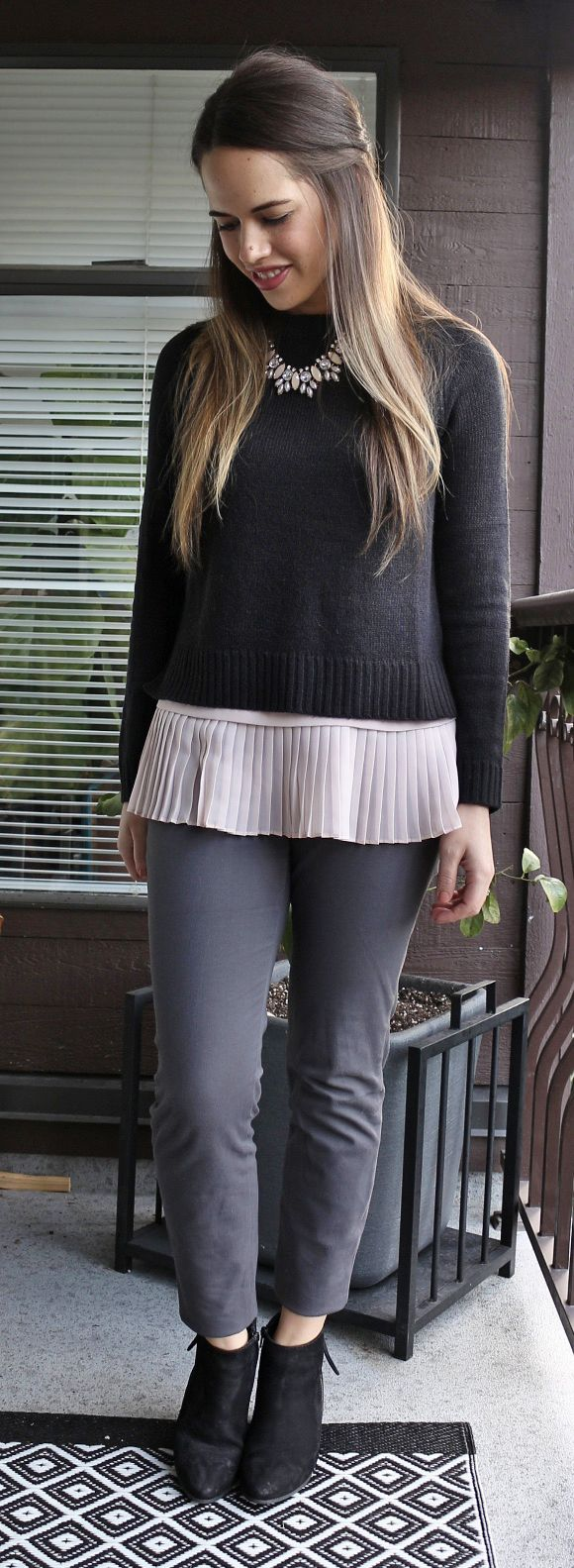 Jules in Flats - H&M Cropped Sweater, Smart Set Peplum, Old Navy Pixie Pants, Steve Madden Jaydun Booties