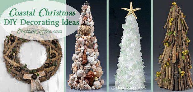 Sea glass, seashells & driftwood, oh my! Coastal Christmas decorating ideas on CraftsnCoffee.com