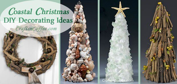 Sea glass, seashells & driftwood, oh my! Coastal Christmas decorating ideas on CraftsnCoffee.com