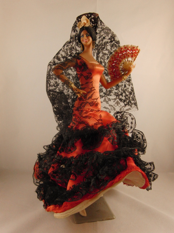 Vintage Spanish flamenco dancer doll. I had shelves of these from grandparents following their jaunts to Torremolinos. All fun until the head fell off and your finger was impailed on a spike.
