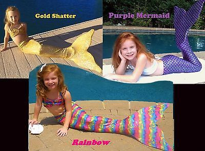 Mermaid Tail with Monofin. Swimmable Tail 12 colors. So Fun! Swim Fin Included.