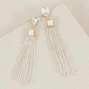 Jewelled Teardrop Chain Tassel Earring