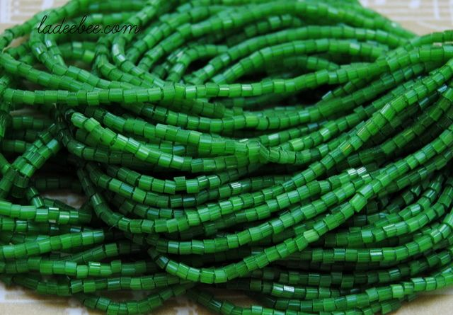Hank of #1 Green Bugle Beads. Starting at $1 on Tophatter.com!