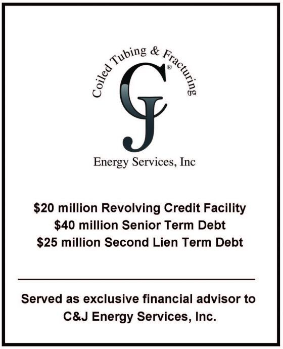 Wilcox Swartzwelder & Co., a boutique energy investment banking company, served as the exclusive financial advisor to CJ Energy Services, Inc.