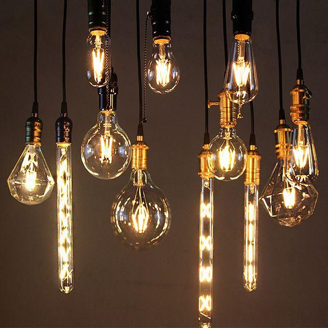 Real watt Vintage LED Edison E27 E14 LED Gloeidraad Licht Vintage LED Gloeilamp 220 V Retro Kaars Licht 2 W 4 W 6 W