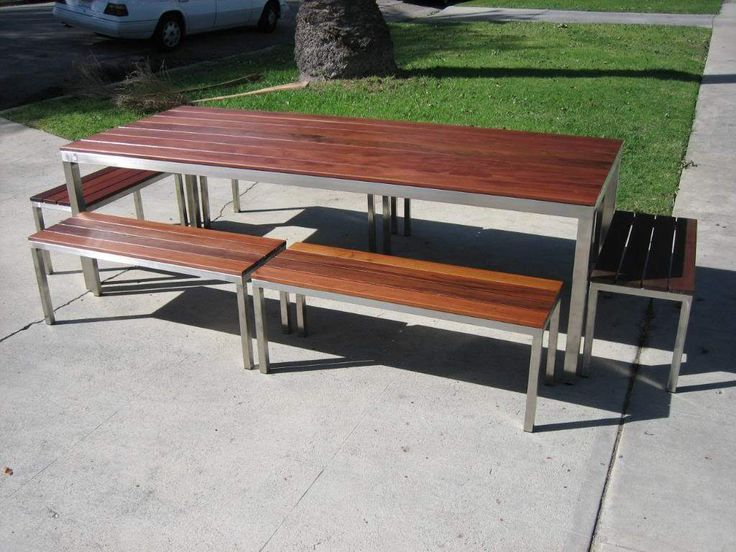 High Quality Los Angeles, CA Custom Made Stainless Steel Outdoor Table With Ipe Wood  Top. 6