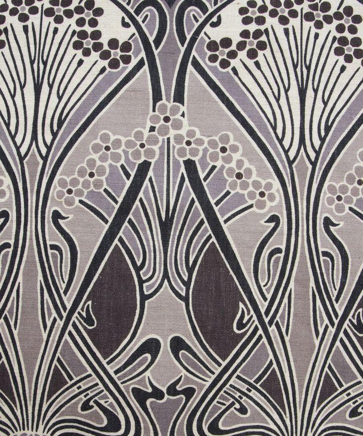 Grey ianthe print by liberty of london furnishing fabrics famous art nouveau pattern