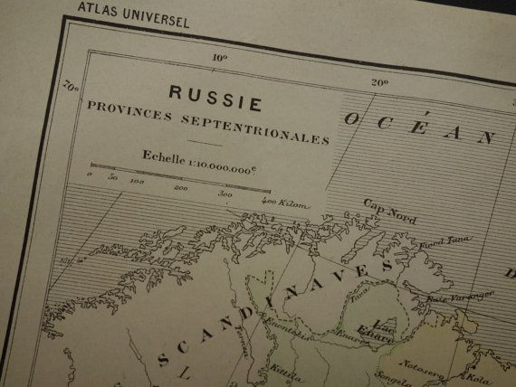 Original 1896 old map of Northern Russia antique French print