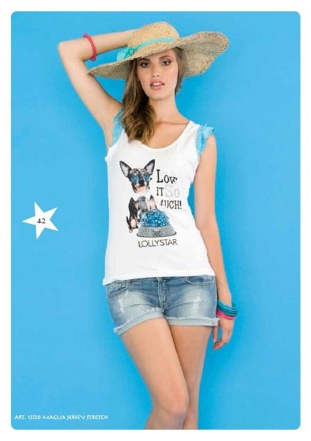 #Canottiera Jersey Stretch #LollyStar - #SpringSummer #tanktop #chihuahua