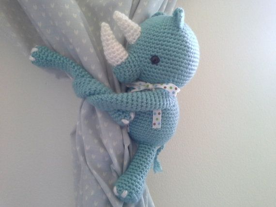 Rhino Curtain Tie Back Crochet Rhino Rhino Amigurumi by MonoBlanco