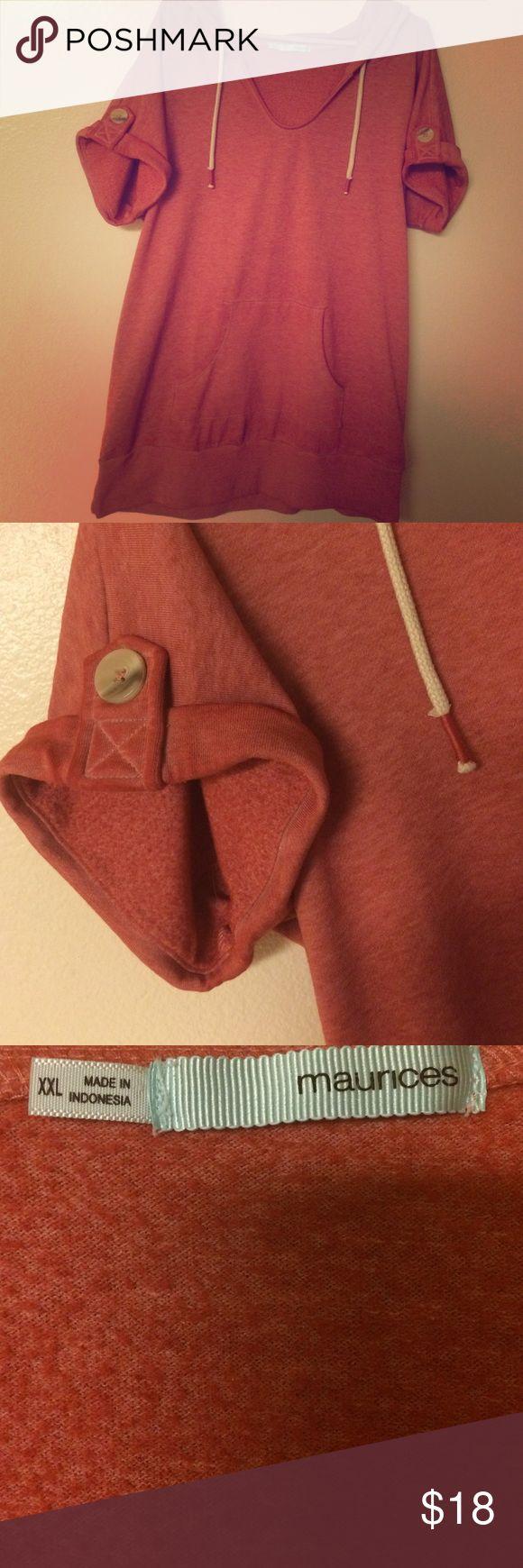 Hooded sweatshirt tunic NWOT short sleeve sweatshirt tunic with hood. Maurices Tops Sweatshirts & Hoodies