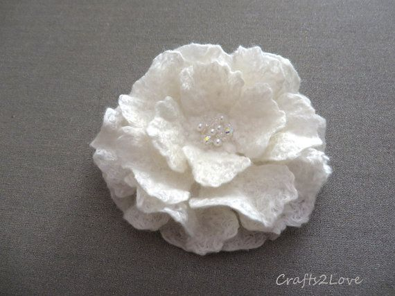 Felted flower brooch. Felt flower pin. White Rose by Crafts2Love, $22.00