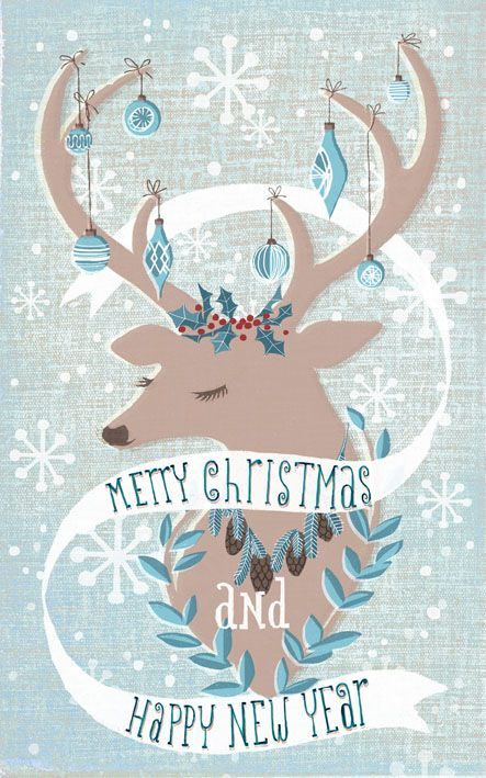 winter deer, greeting card, merry christmas and season's greetings by marco marella