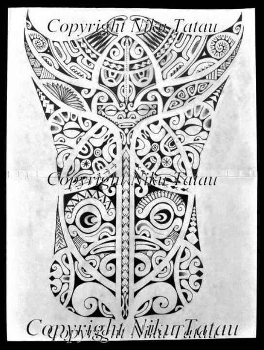 Leg polinezian tattoo