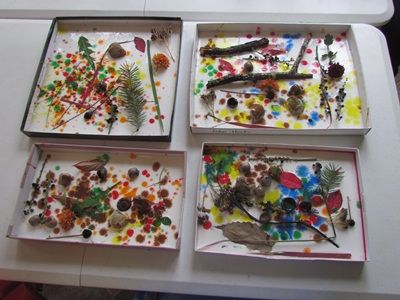 """Box lids with pool of glue... """"Great art project to follow a nature walk. However, as Deborah noted in her post, once the glue dries you lose the colors. I think you'd need to mix white paint into the glue, or paint the lid white first."""""""