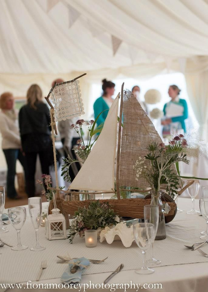 Handmade driftwood boat table centre piece by Coastalcreatives