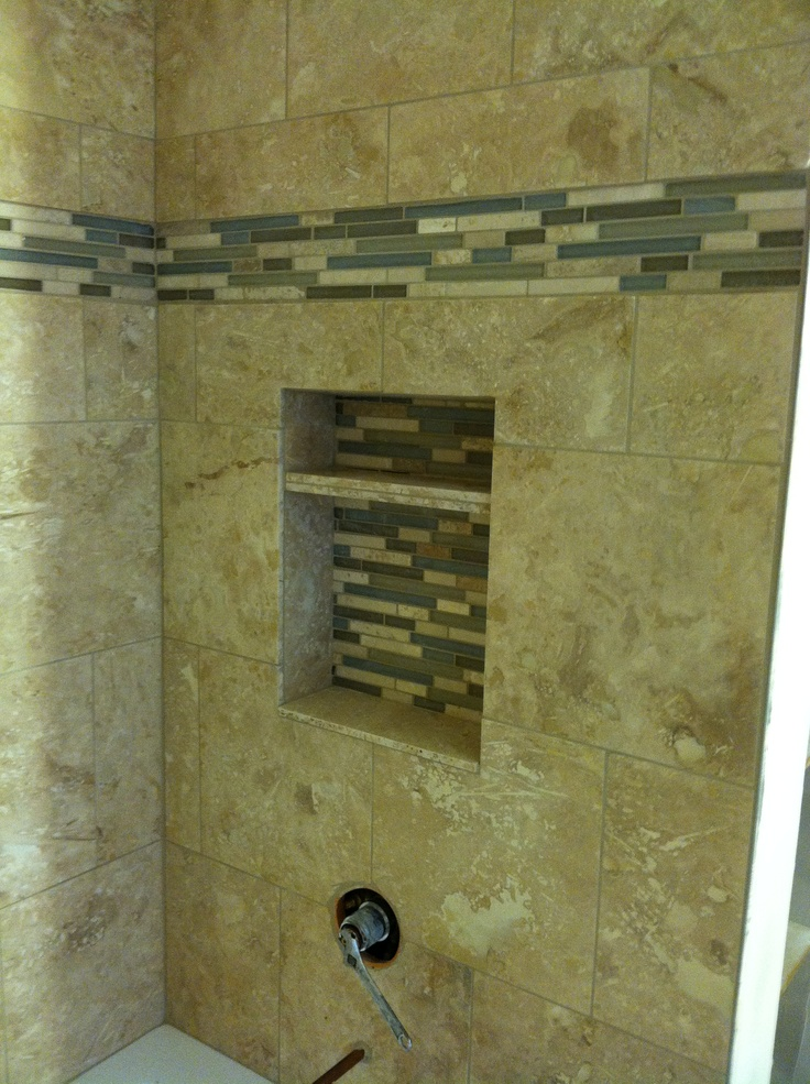 Inset soapshampoo box with Glass tile back  My Projects